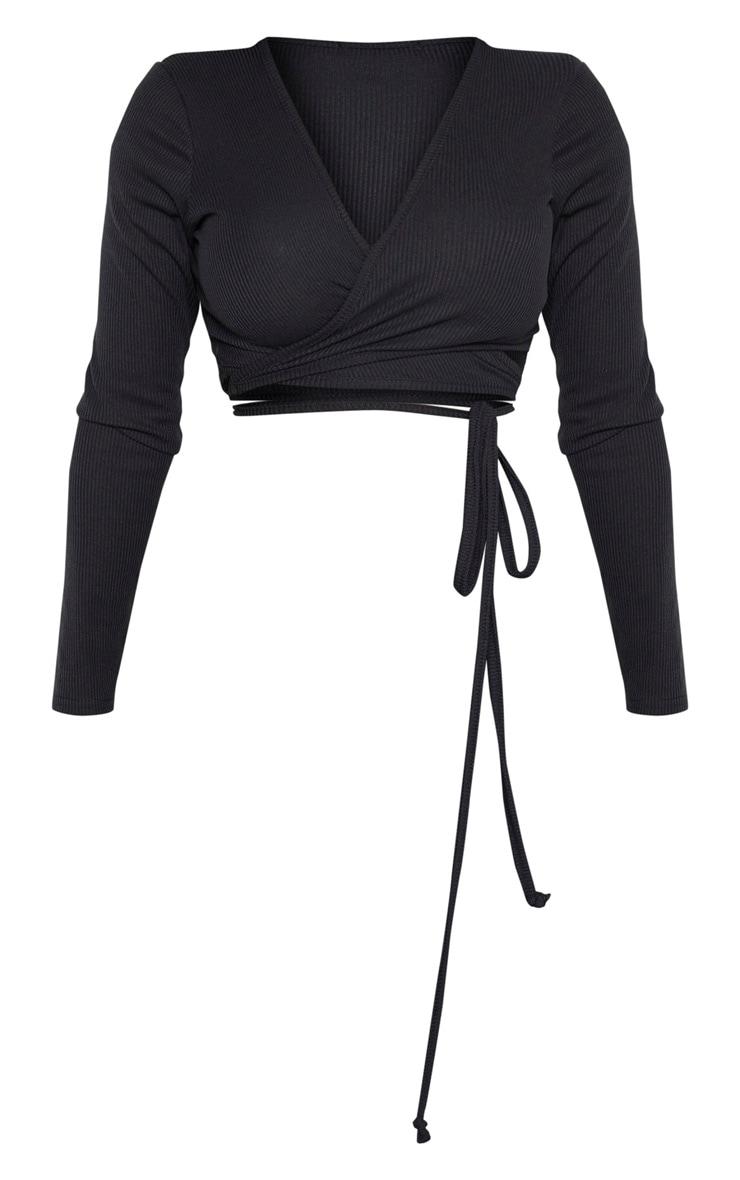 Shape Black Ribbed Long Sleeve Wrap Waist Crop Top 1