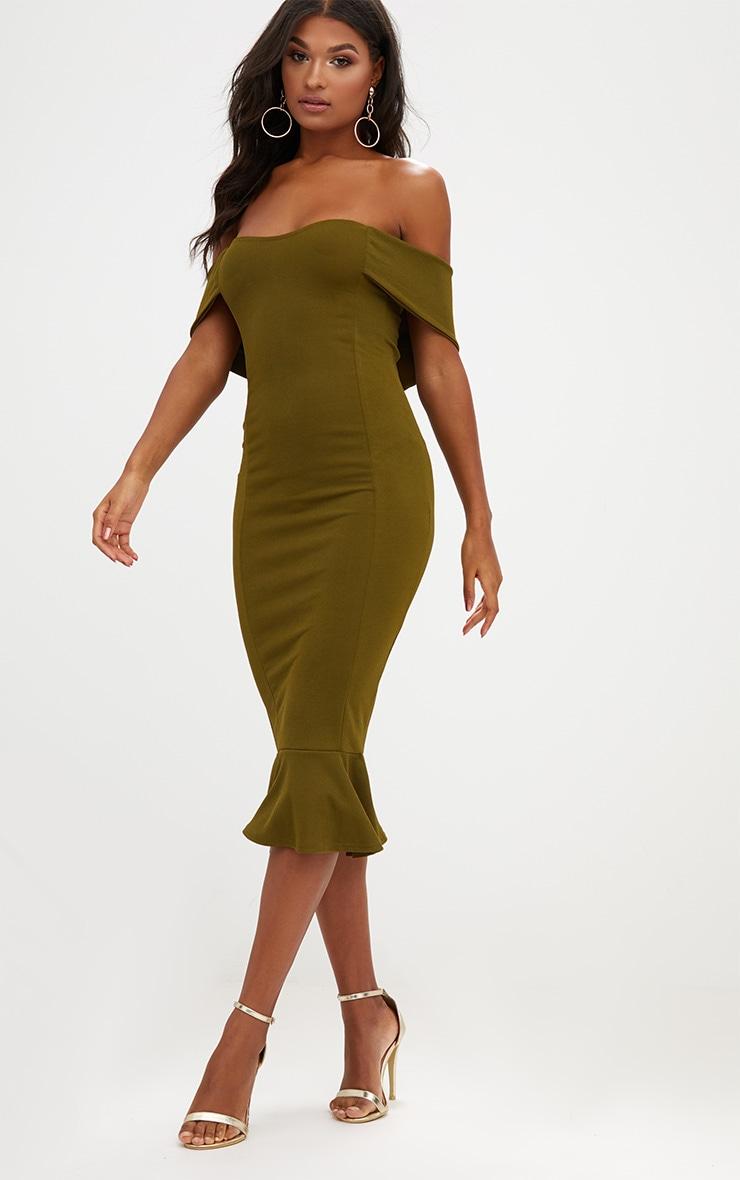 Olive Green Bardot Frill Hem Midi Dress 4