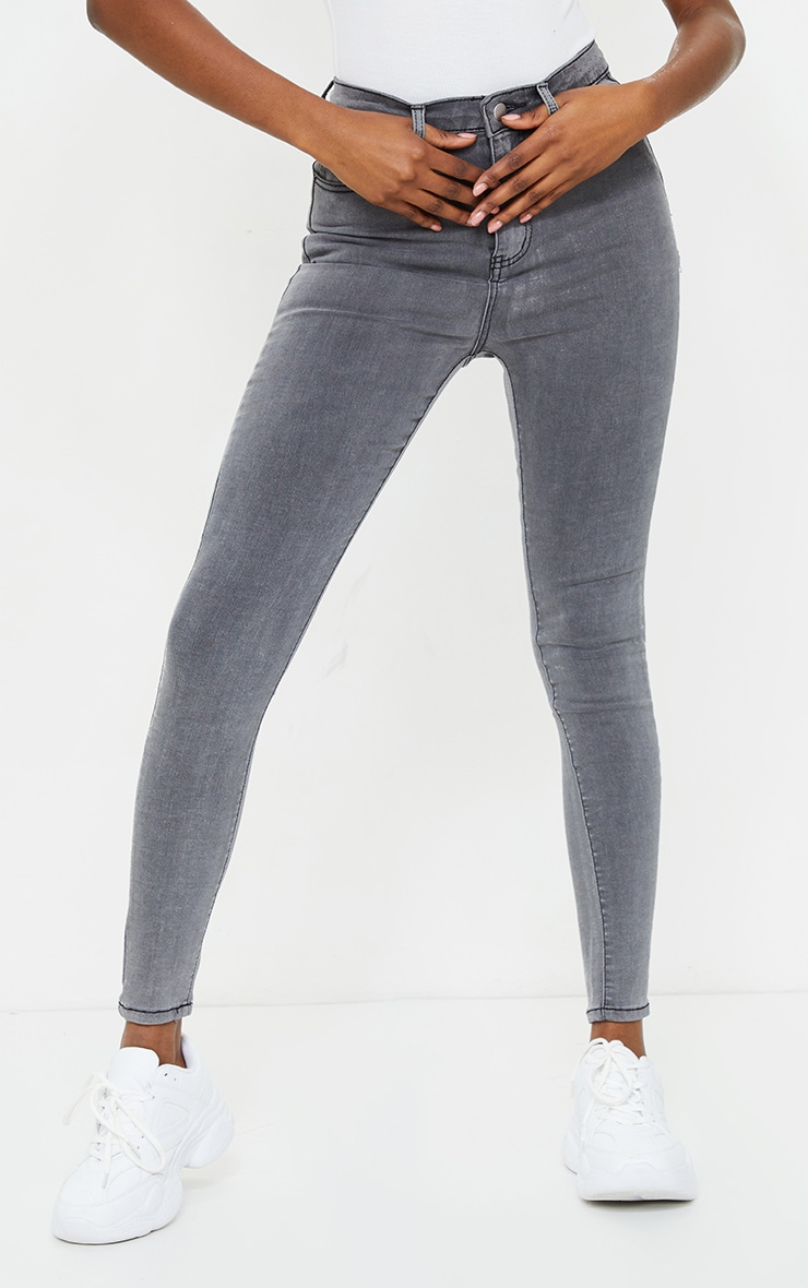 PRETTYLITTLETHING Tall Grey 5 Pocket Skinny Jean 2