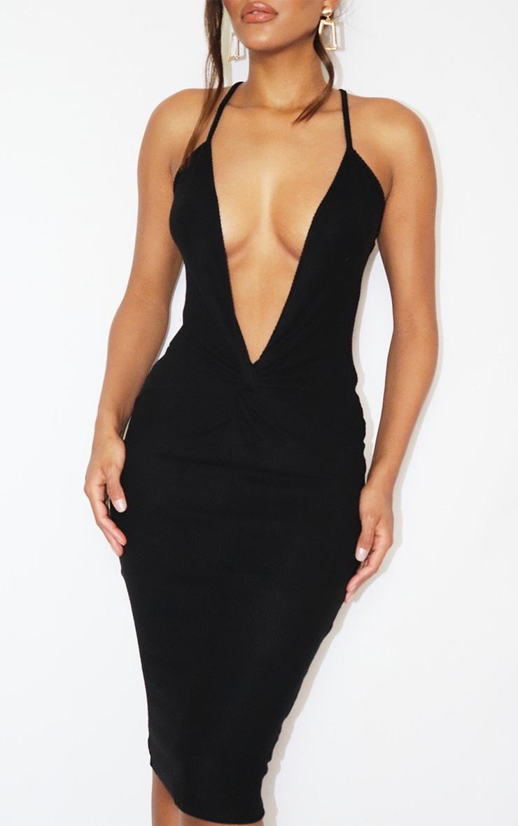 Black Brushed Rib Twist Front Plunge Midi Dress 4