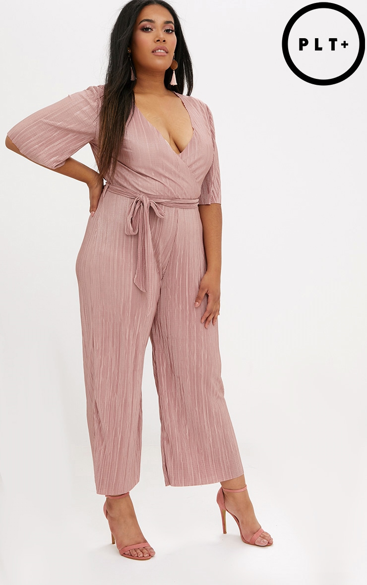 Plus Rose Metallic Plunge Jumpsuit  1