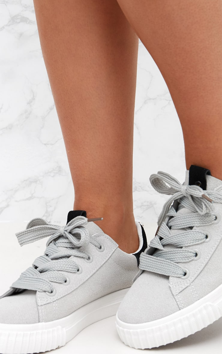 Grey Suedette Lace Up Trainer 5