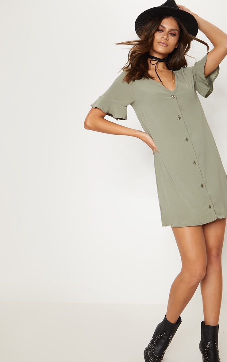 Khaki Button Through Frill Sleeve Shift Dress 1