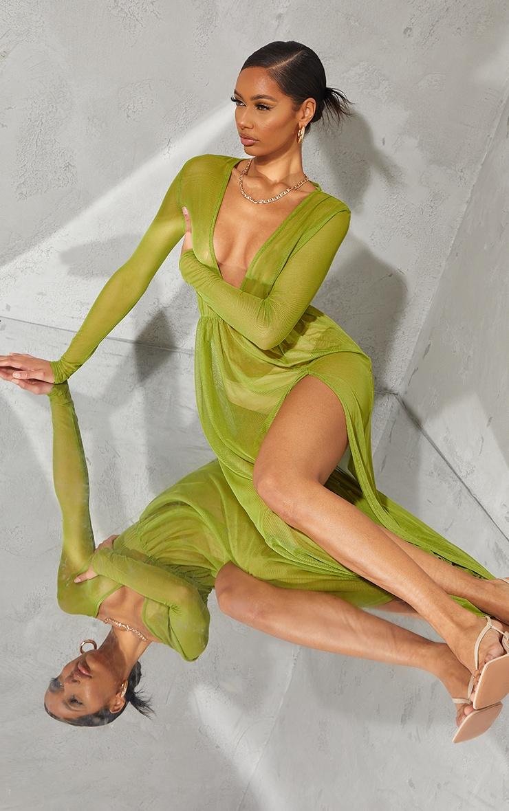 Olive Sheer Mesh Plunge Long Sleeve Split Maxi Dress 3