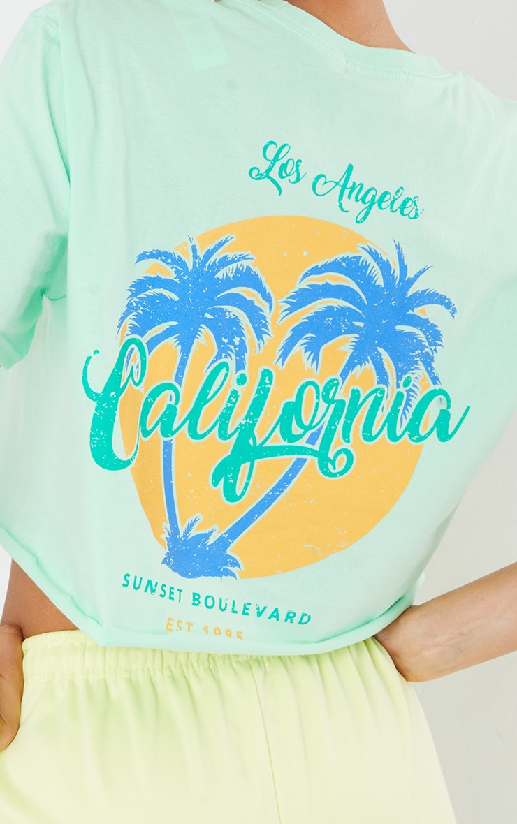 Green Los Angeles Graphic Back Print Cropped T Shirt 4