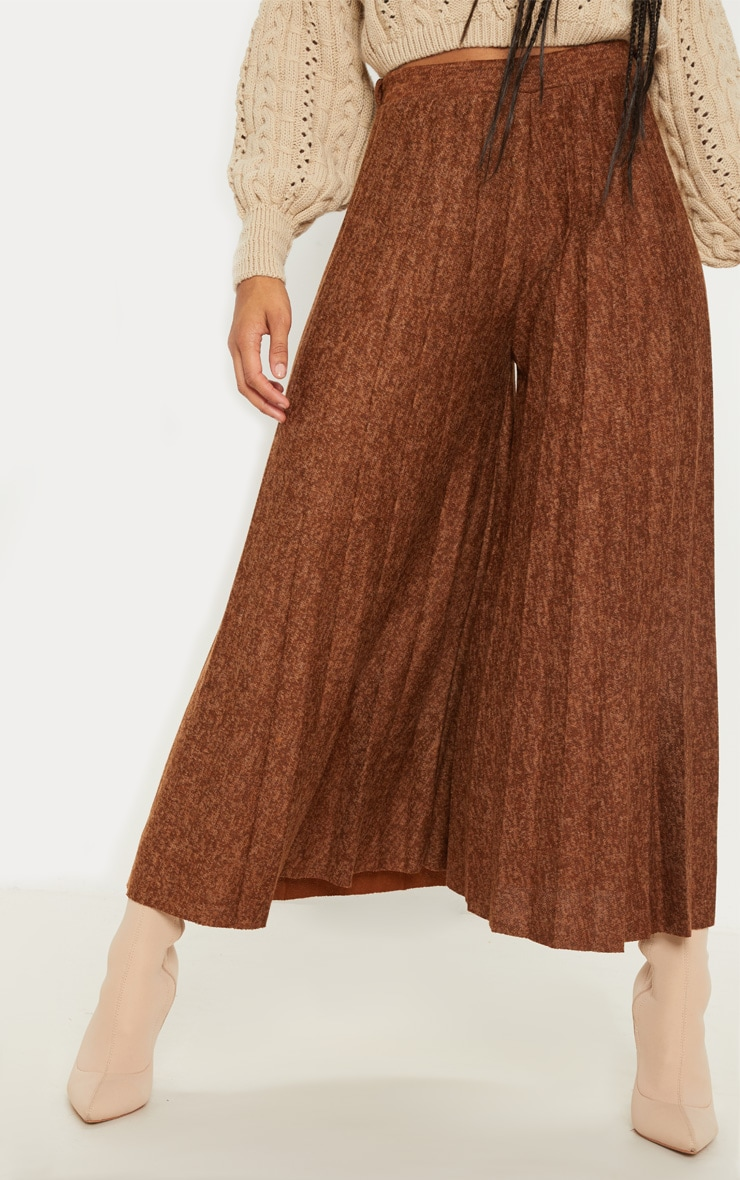 Brown High Waisted Pleated Culotte 2