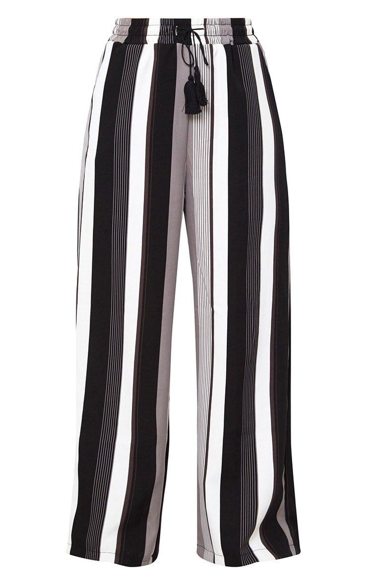 Black Stripe Wide Leg Trousers  3