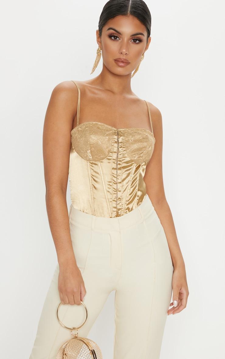 499a1010d0 Champagne Lace Detail Satin Bodysuit image 1