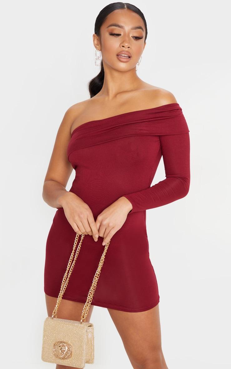 Petite Burgundy Bardot One Shoulder Jersey Bodycon Dress 4