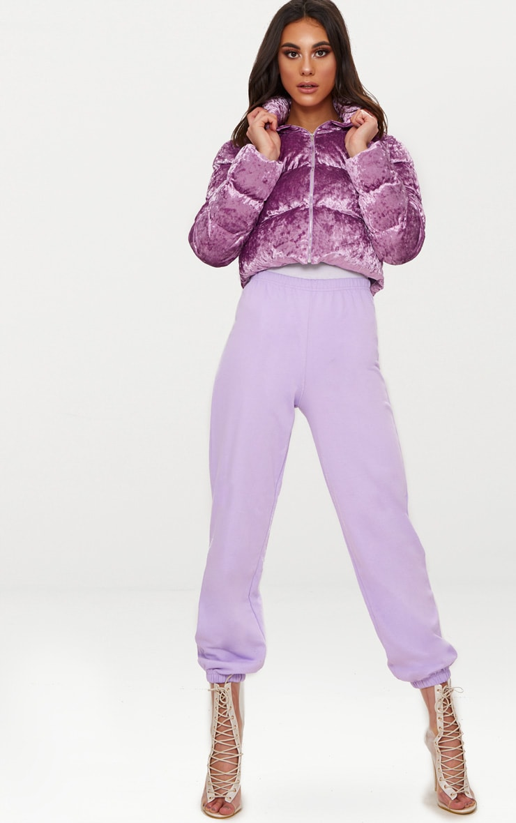 Lilac Crushed Velvet Cropped Puffer Jacket 4