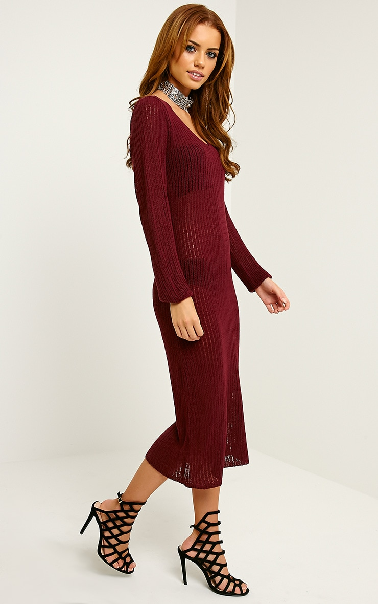 Dellar Wine Knitted Long Line Dress 3