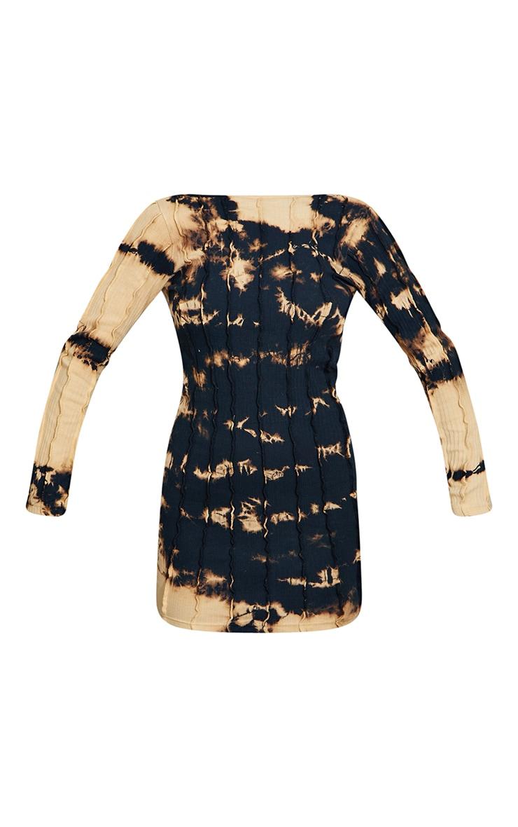 Black Tie Dye Binding Cut Out Back Bodycon Dress 5