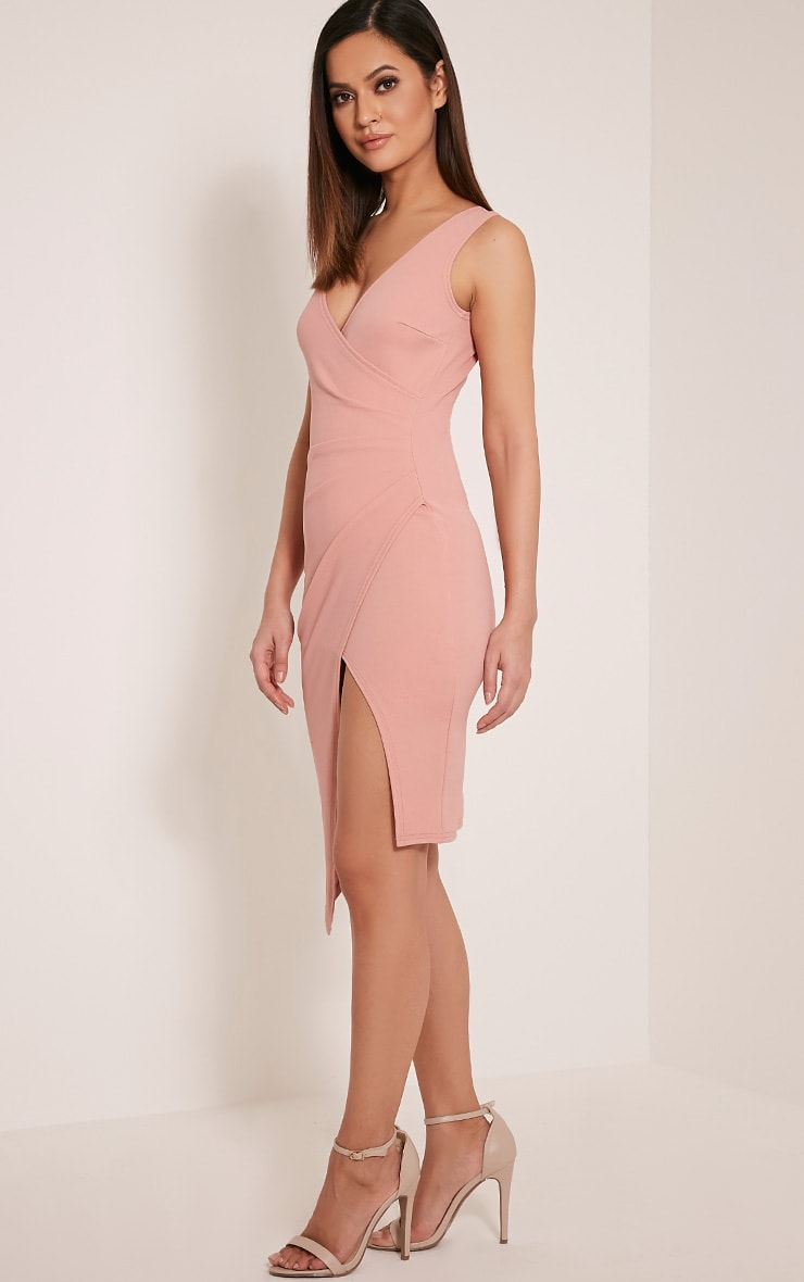 Karley Dusty Pink Wrap Front Crepe Midi Dress 8