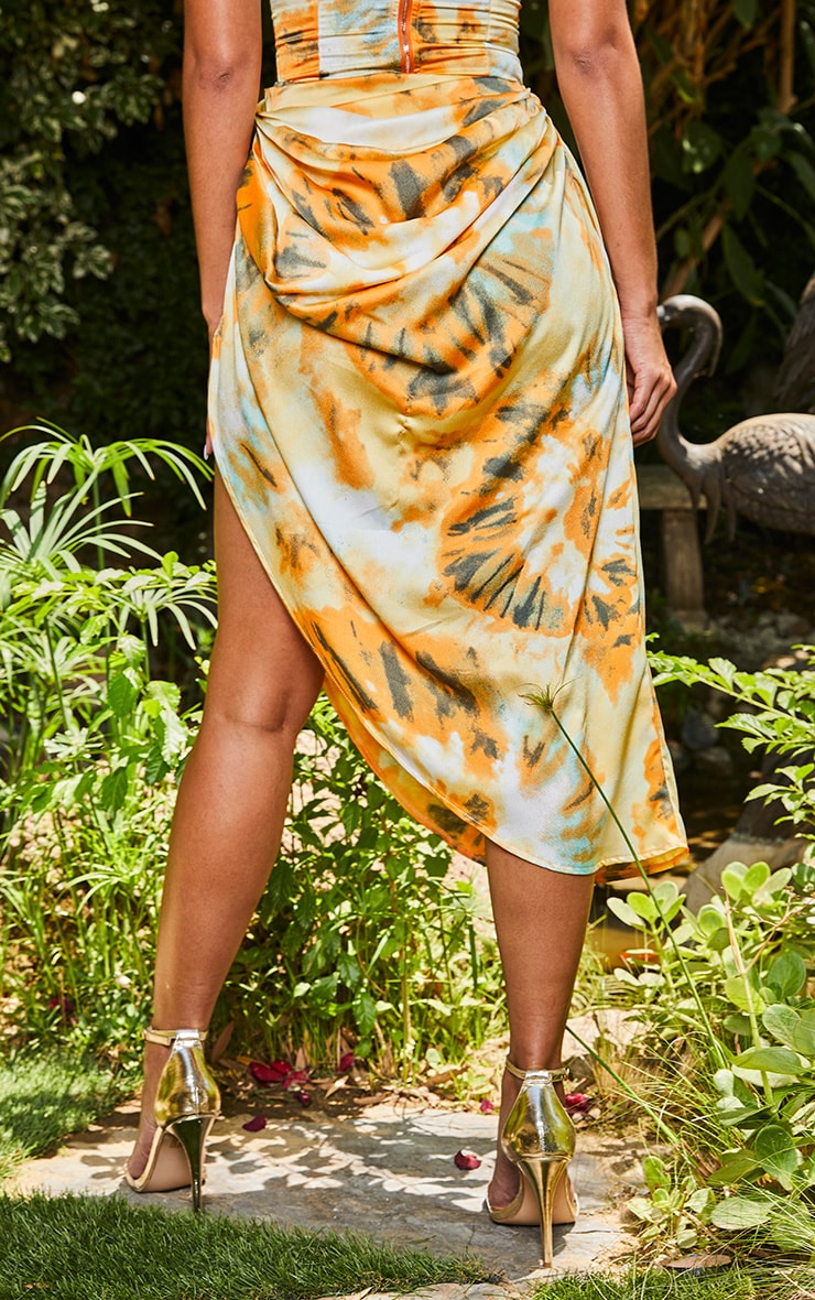 Orange Tie Dye Ruched Side Midi Skirt 3