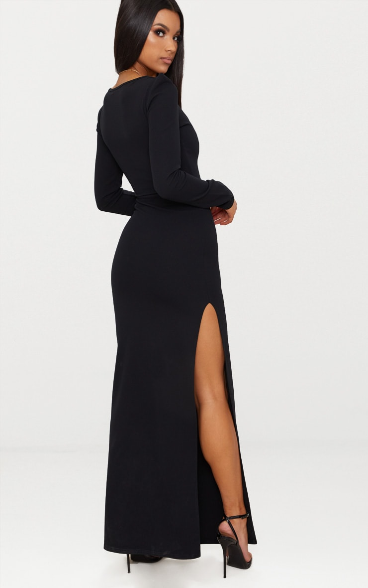 Black Pointed Shoulder Extreme Split Maxi Dress 2