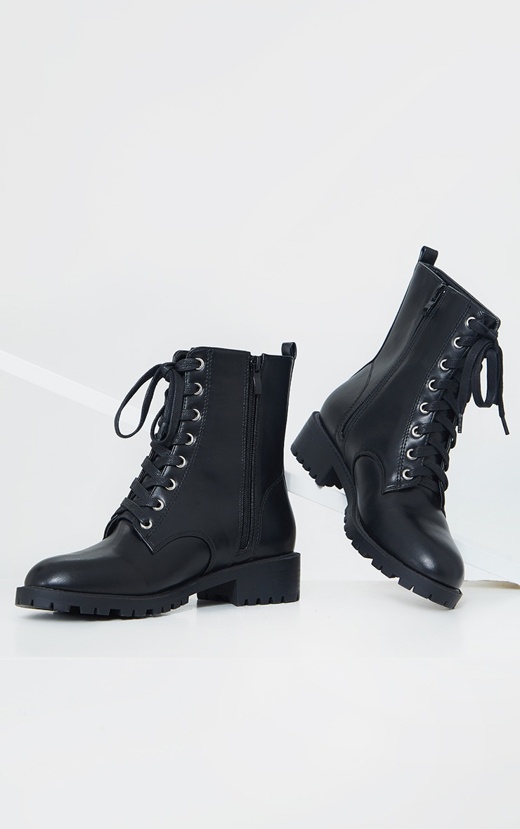 Black Basic PU Biker Boots 4