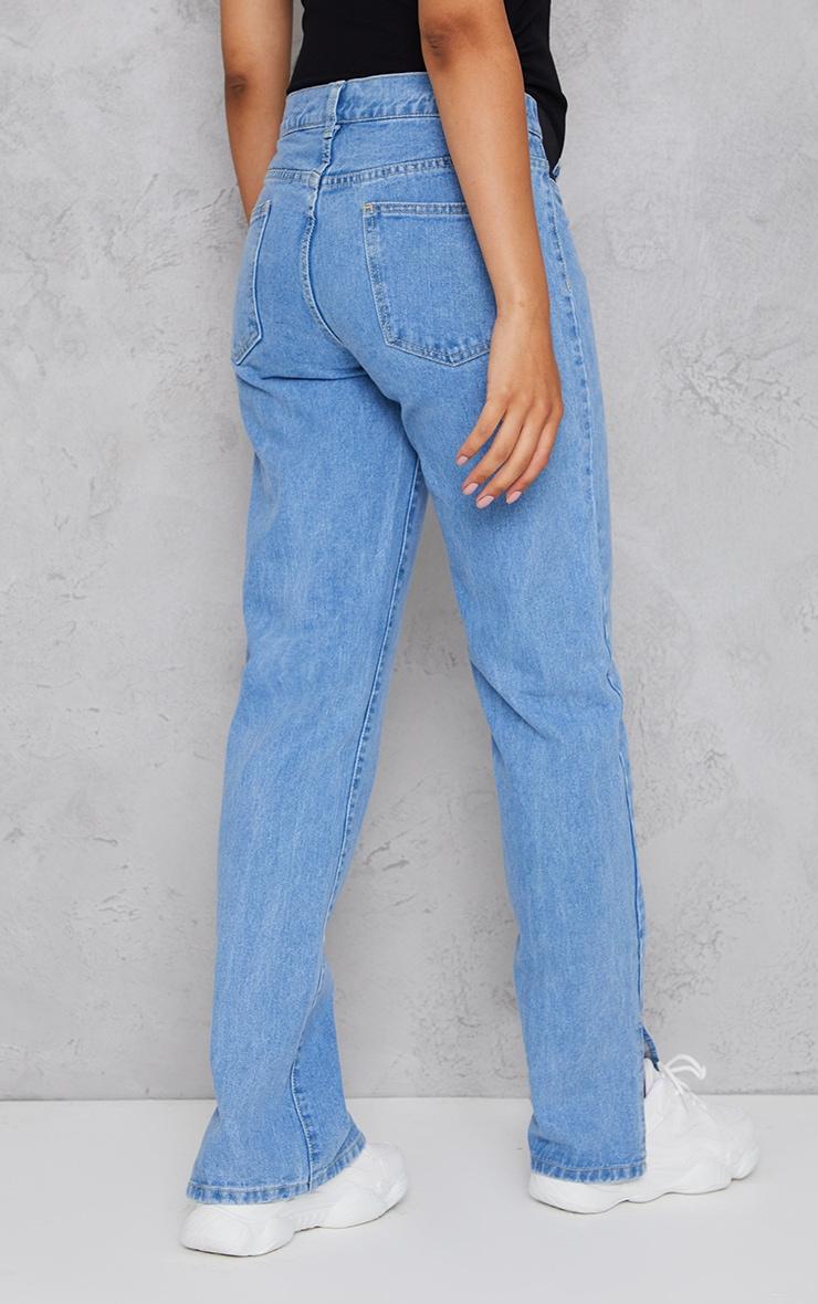 Maternity Light Wash Straight Leg Split Hem Jeans 3