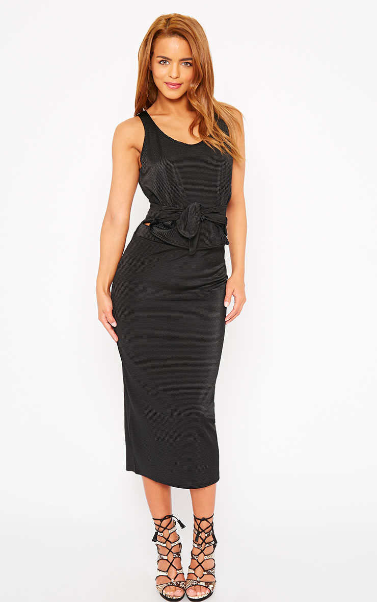 Margaux Black Longline Ribbed Midi Skirt 1