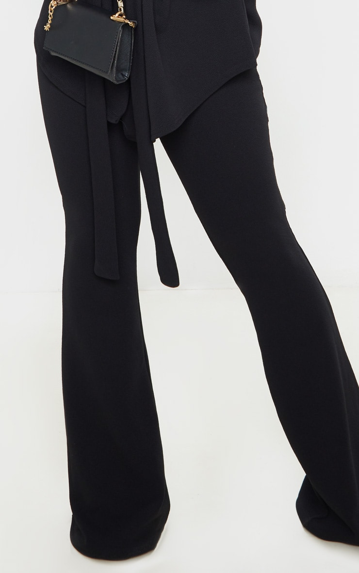 Petite Black Crepe Flared Trousers  5