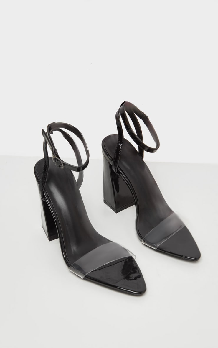 Black Point Toe Block Heel Sandal 3