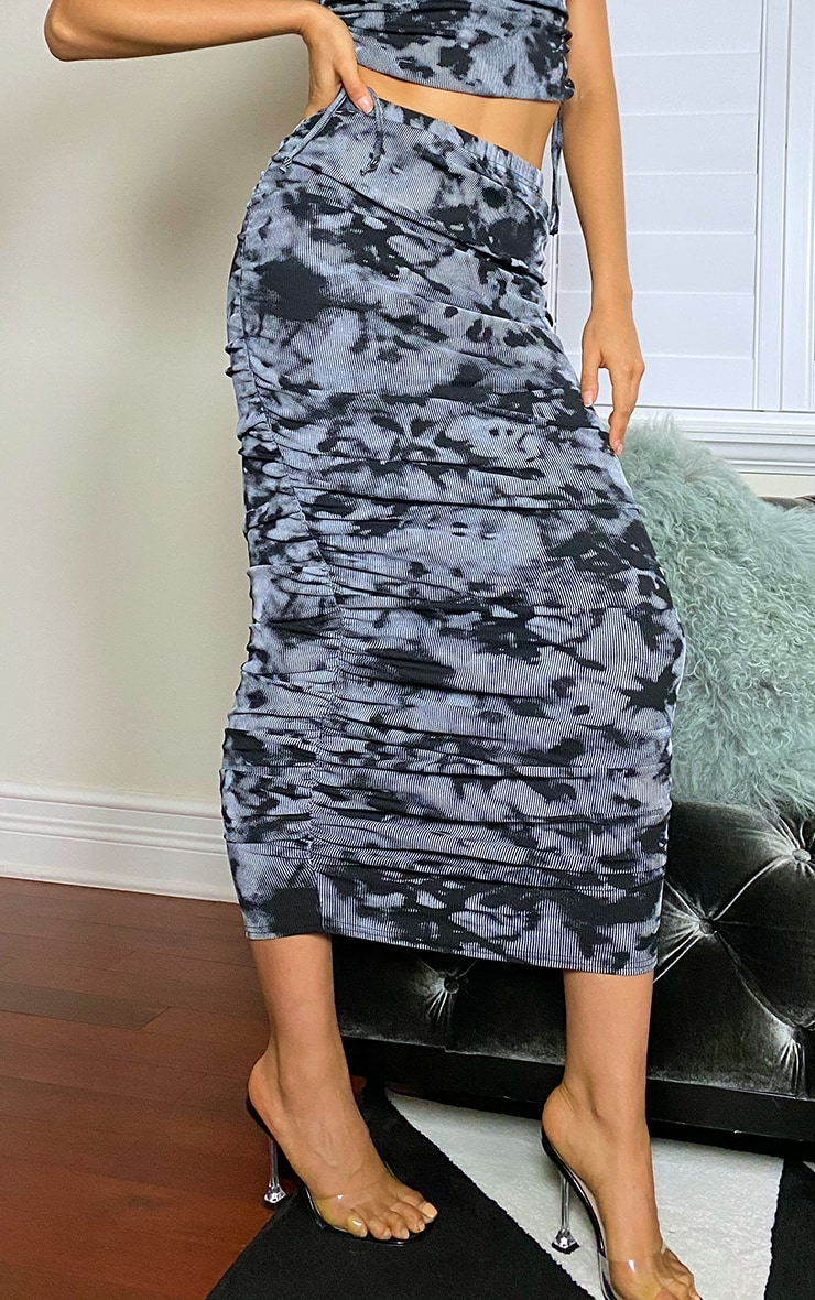 Tall Grey Ruched Midaxi Skirt 2