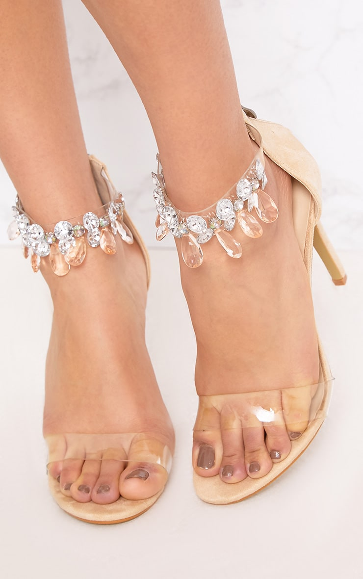 Cream Jewelled Strap Heels 5