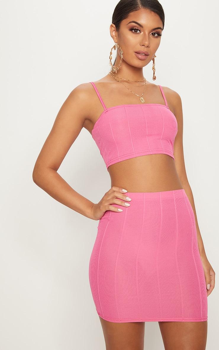 Hot Pink Bandage Mini Skirt  1