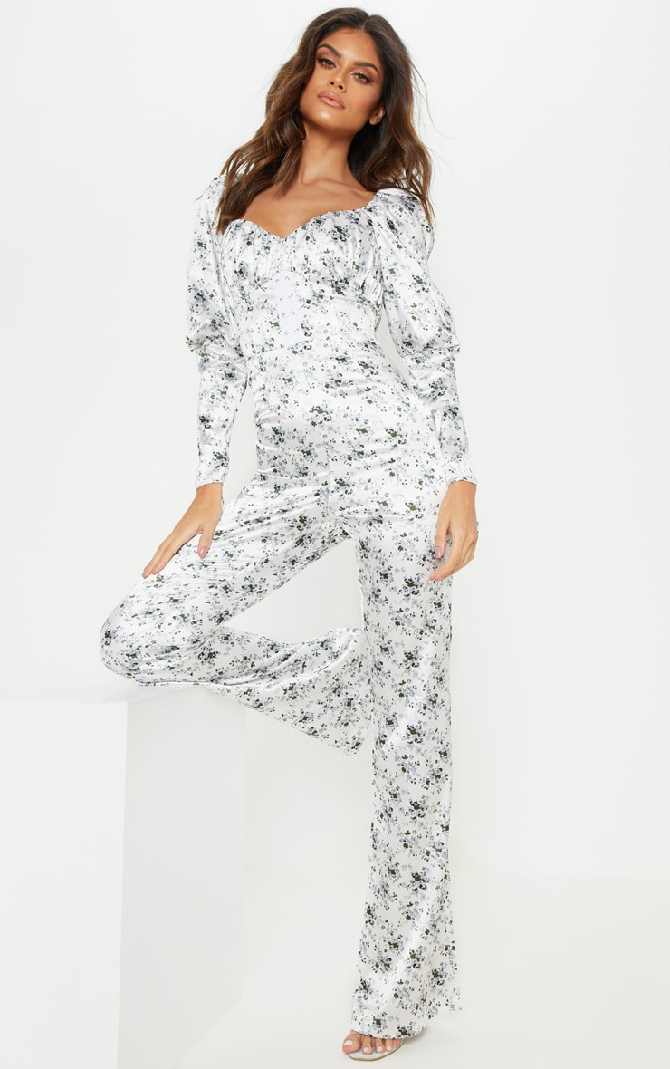 White Ditsy Floral Puff Sleeve Lace Up Waist Jumpsuit
