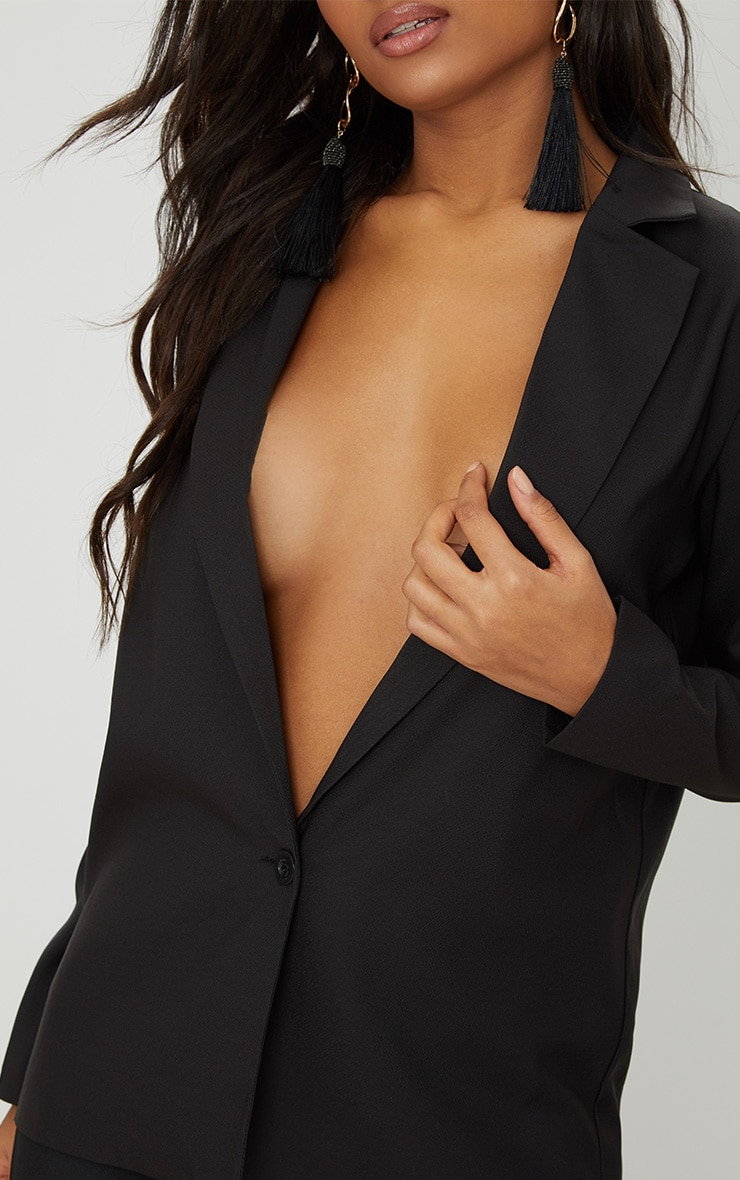 Black Oversized Boyfriend Fit Blazer 4