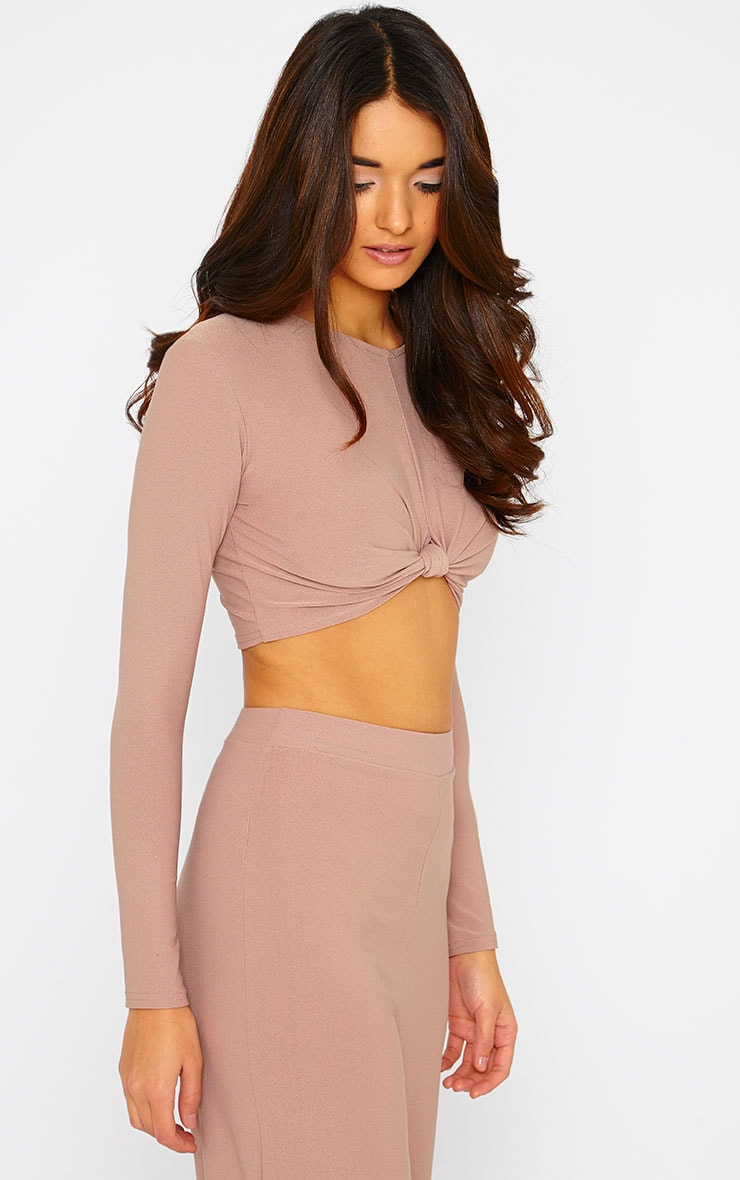 Zafia Dusty Pink Knot Front Crepe Crop Top 3