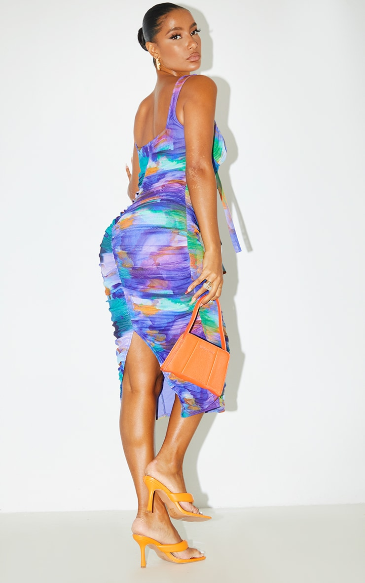 Blue Abstract Print Mesh Sleeveless Tie Front Ruched Midi Dress 2