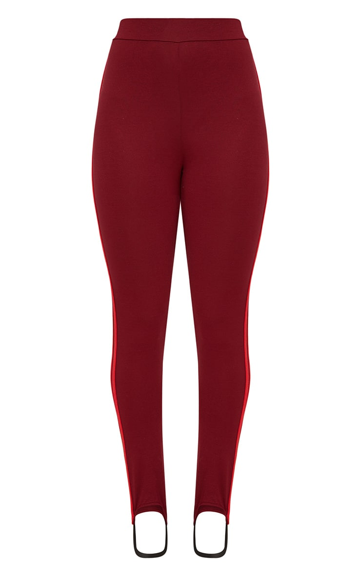 Burgundy Track Stripe Stirrup Leggings 3