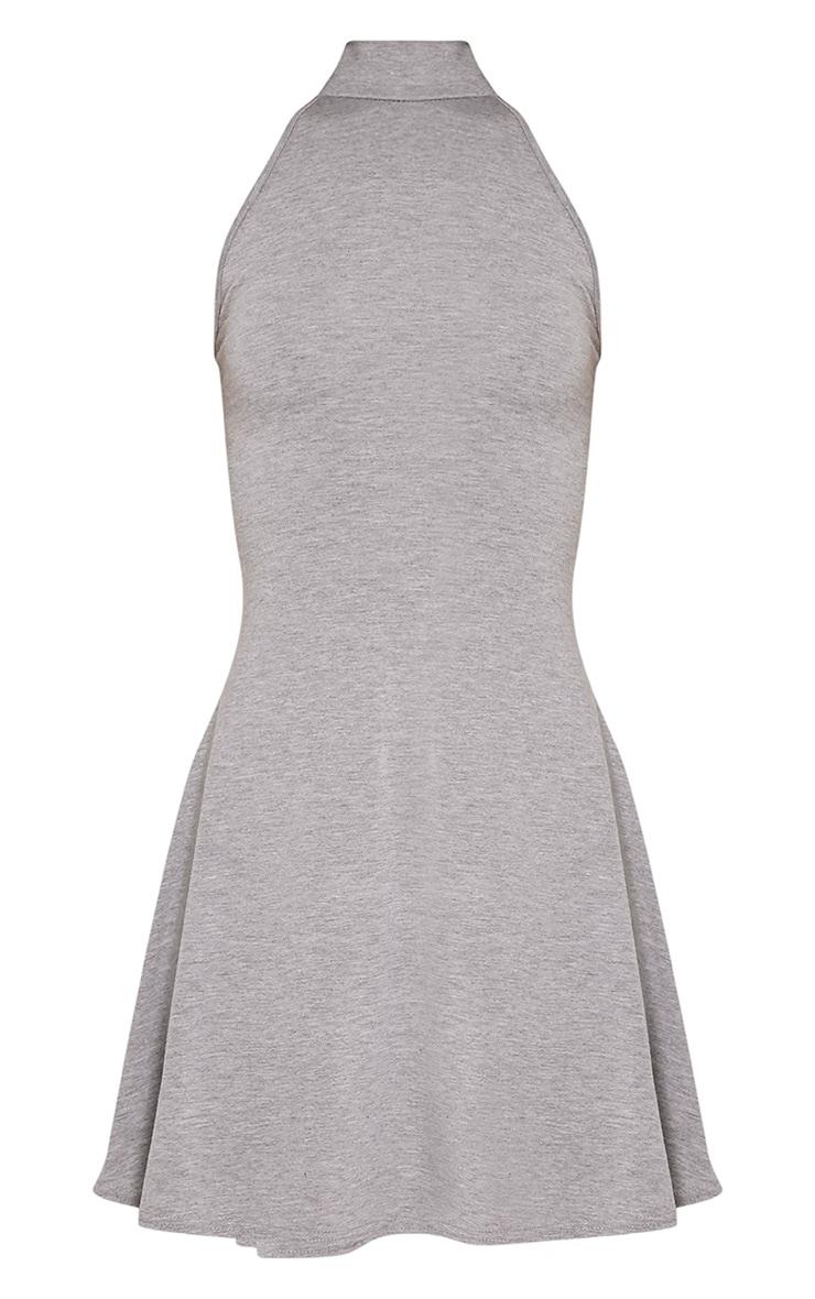 Basic Grey High Neck Jersey Skater Dress 3
