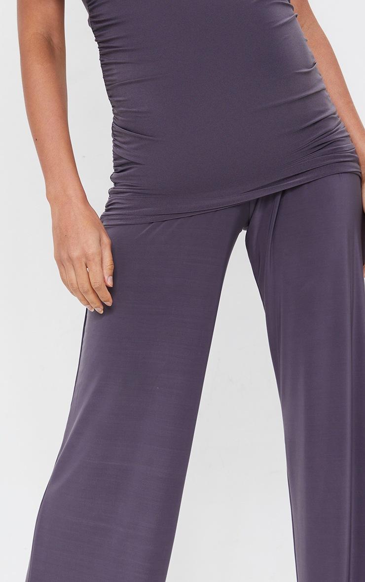 Maternity Slate Grey Slinky Wide Leg Pants 4
