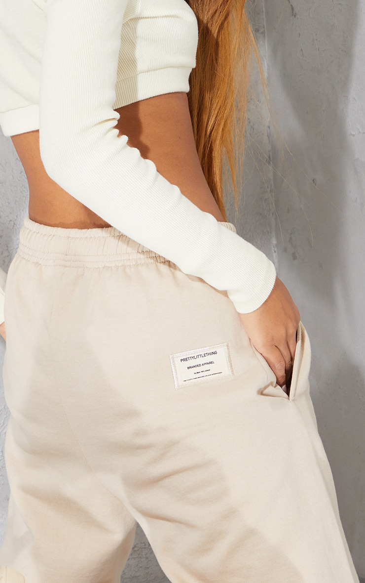 PRETTYLITTLETHING Taupe Branded Apparel Joggers 4