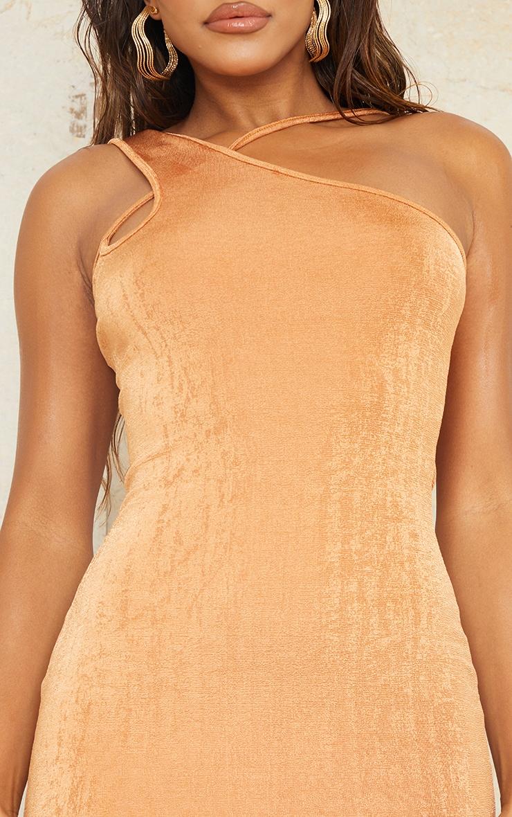 Toffee Textured Slinky One Shoulder Asymmetric Strap Detail Bodycon Dress 4