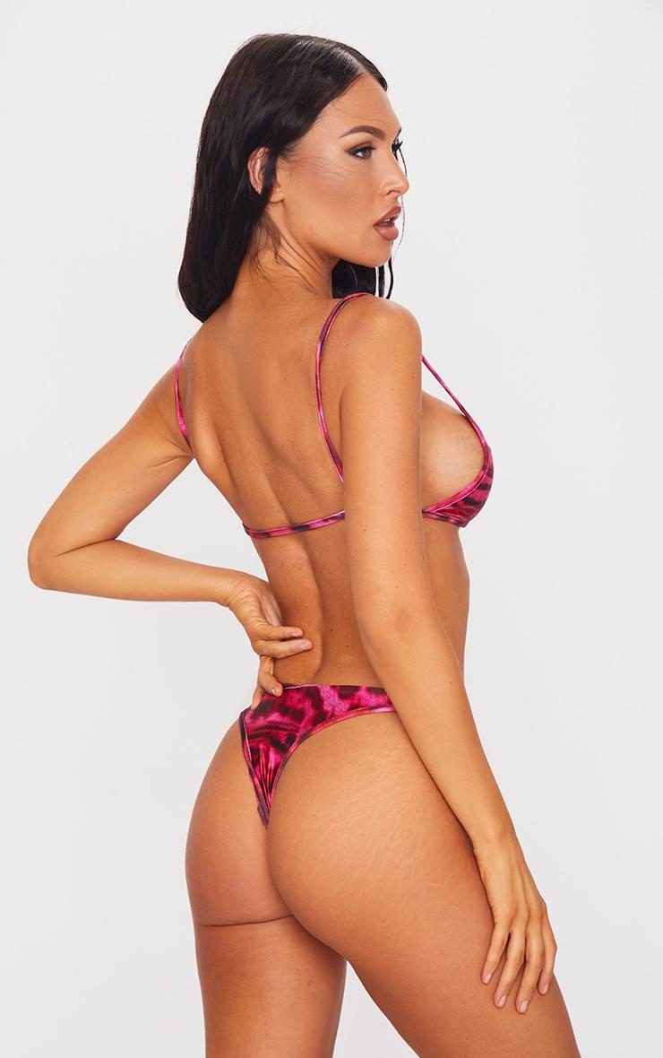 Pink Tiger Print Ring Bikini Top 2