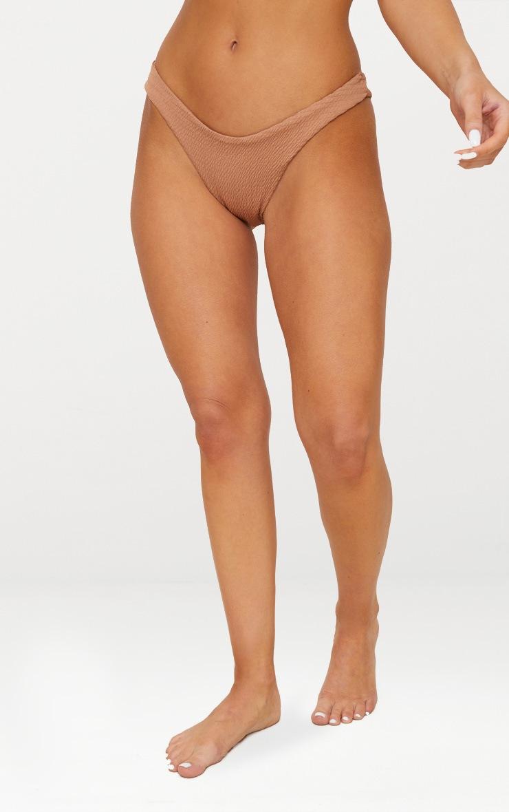Mocha Crinkle V Front Bikini Bottom 2