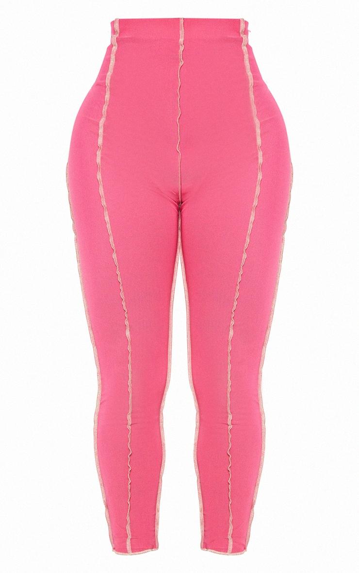 Shape Hot Pink Mesh Seam Detail Cropped Leggings 6