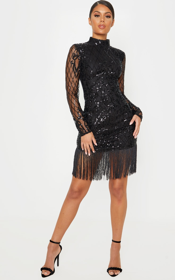 Black Long Sleeve Sequin Tassel Hem Bodycon Dress 4