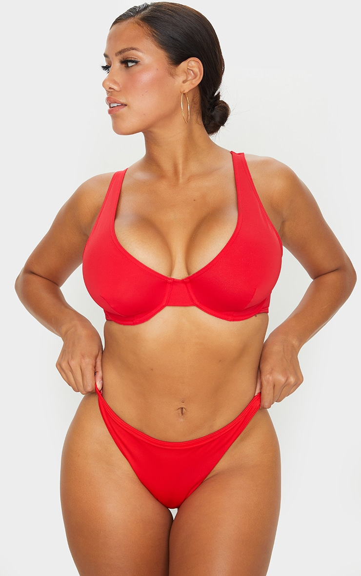 Red Fuller Bust Underwired Bikini Top 1