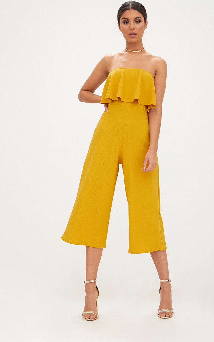Mustard Bardot Double Layer Culotte Jumpsuit 1