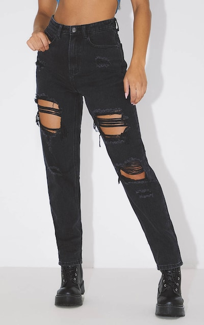 PRETTYLITTLETHING Washed Black Distressed Mom Jean