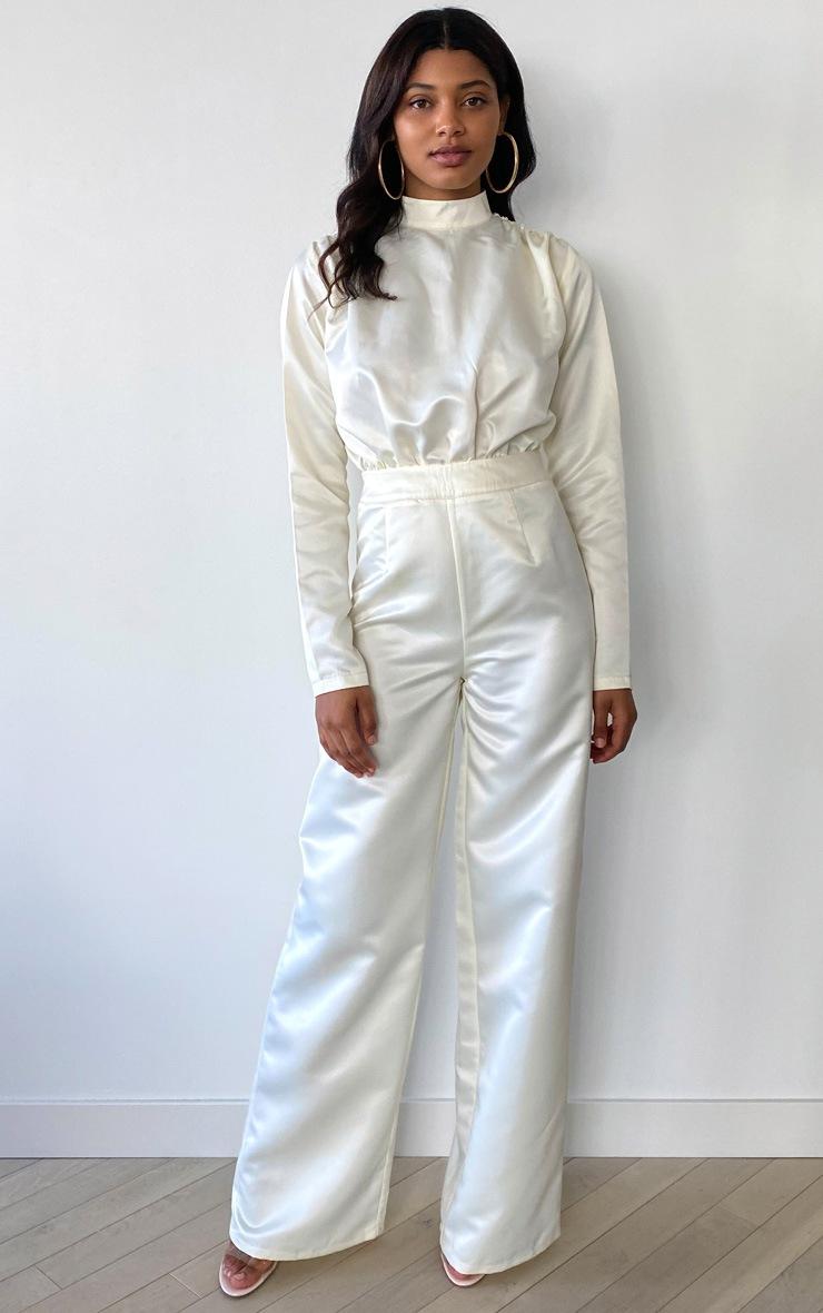 Tall Cream Ruched Shoulder Satin Bodysuit 3