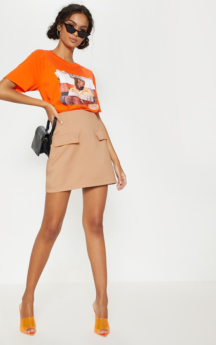 Camel Formal Pocket Flap Front Mini Skirt 5