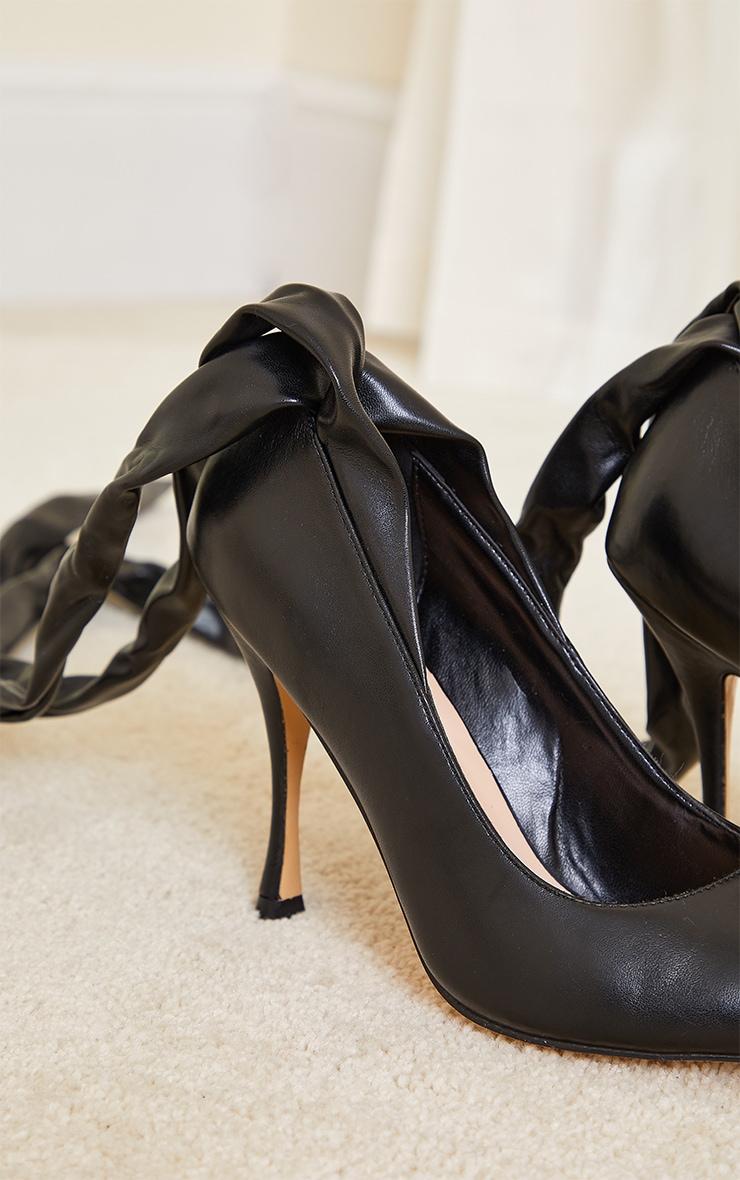 Black PU Ankle Tie Court Shoes 3
