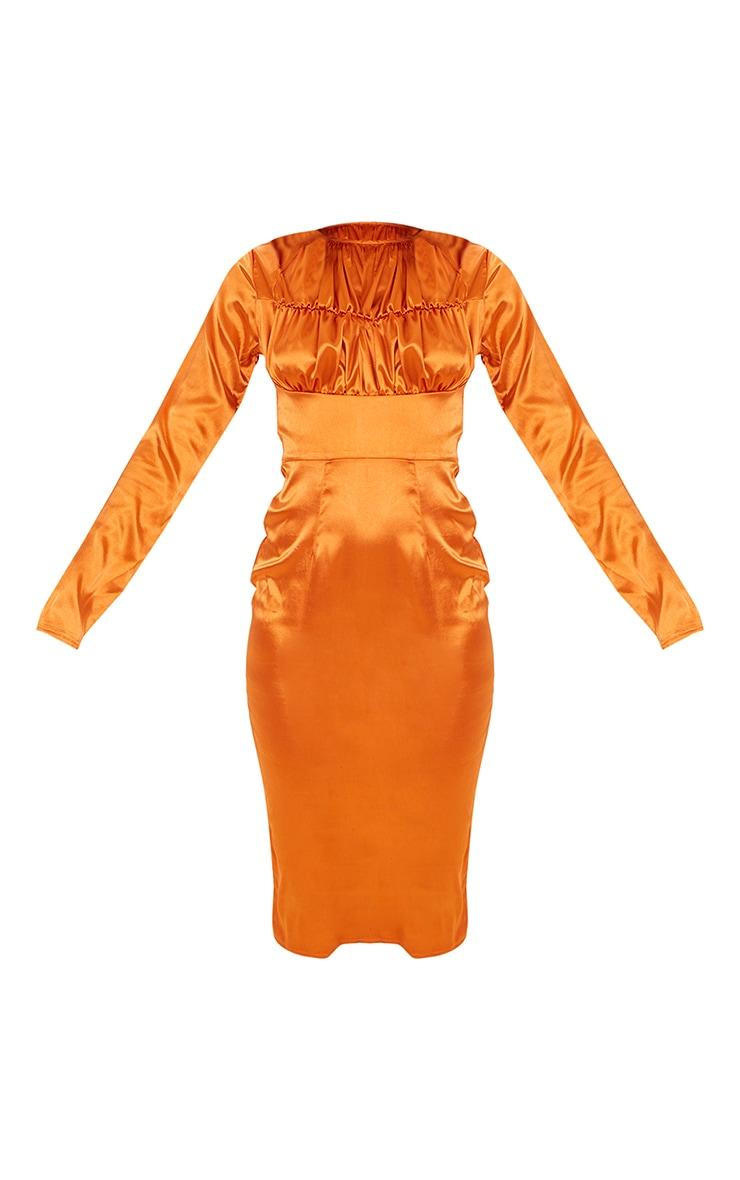 Rust Satin Ruched Bust Detail Midi Dress 5
