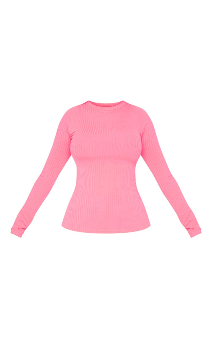 Neon Pink Rib Crew Neck Long Sleeve Top 3