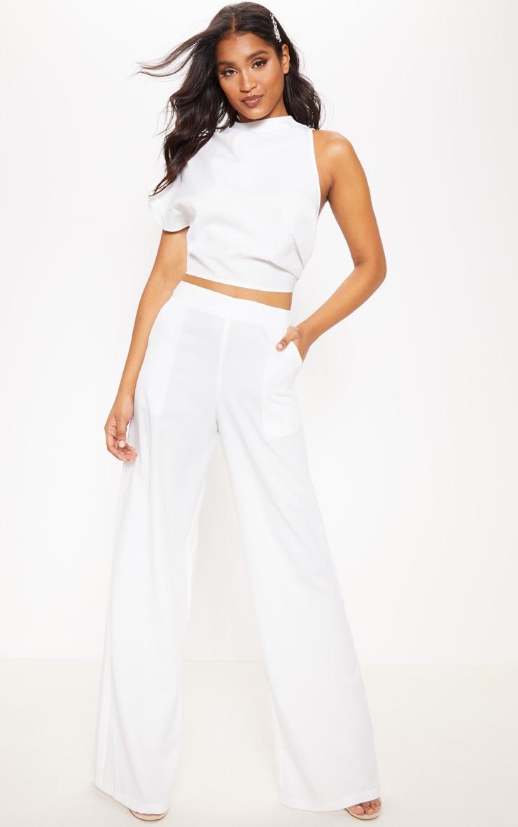 Pantalon ample blanc très évasé 1