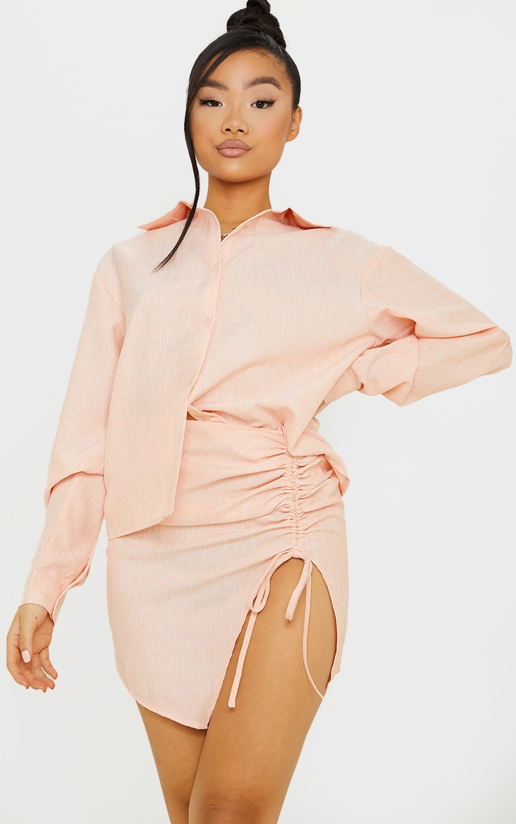 Petite Coral Ruched Bodycon Skirt 4